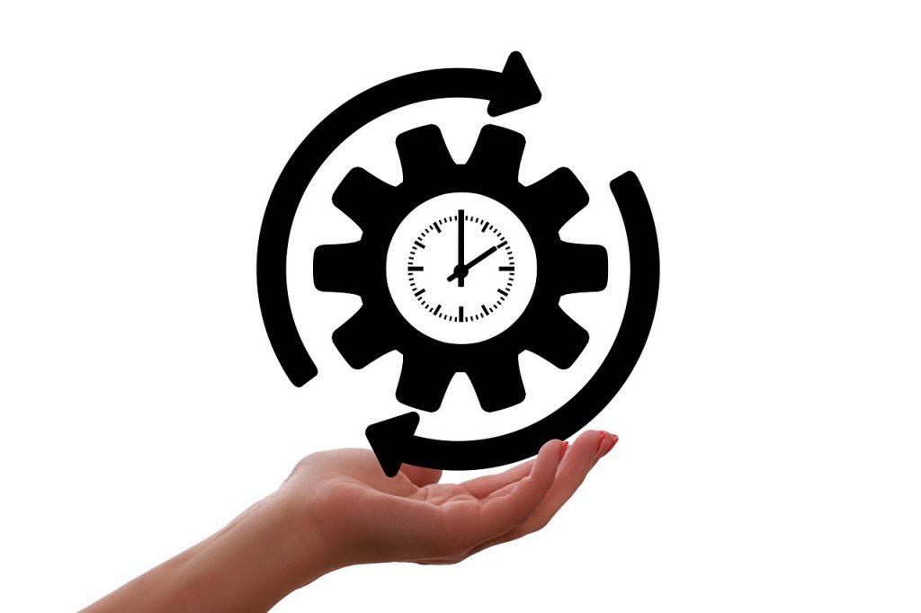 clock, gear, arrow